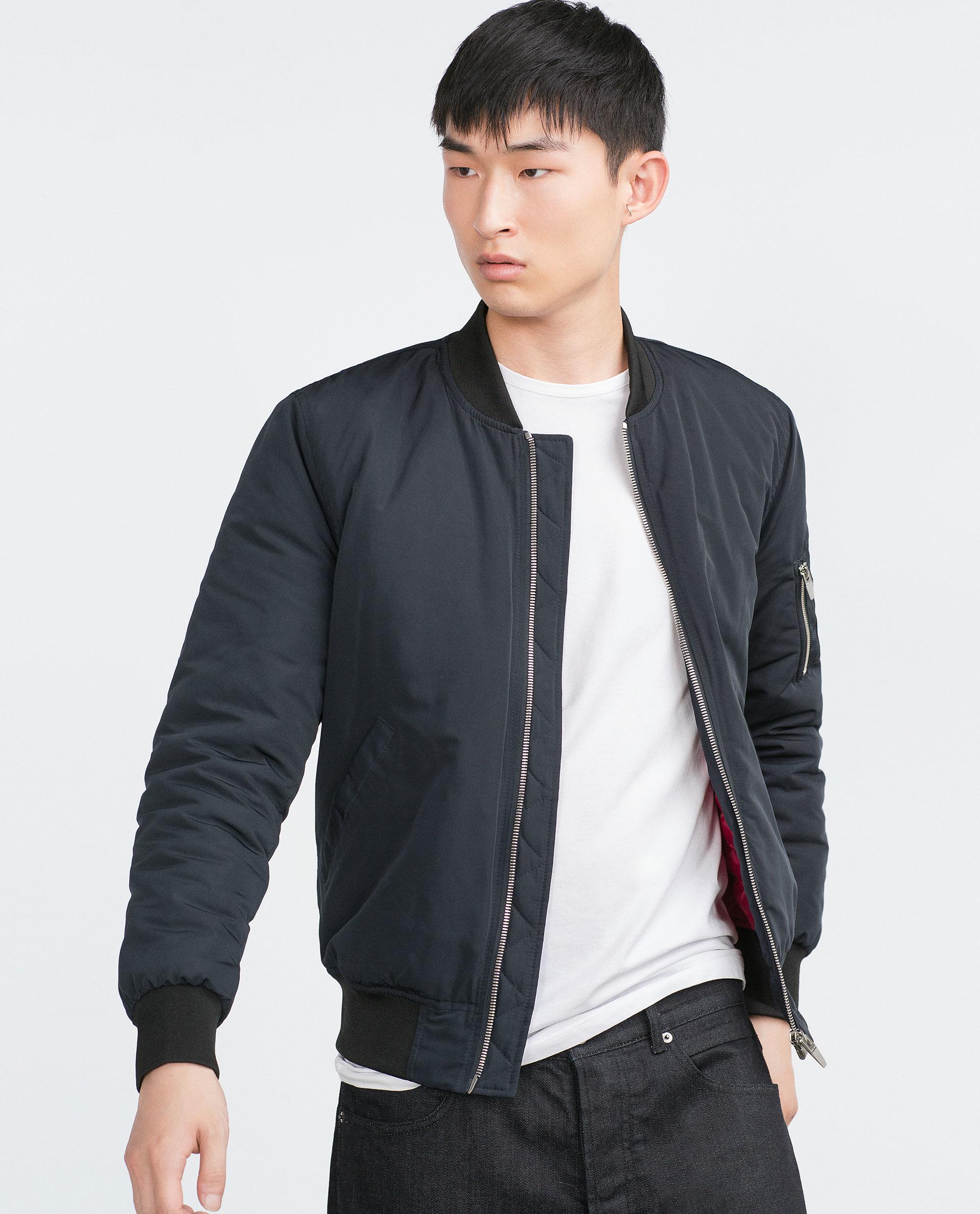 Zara Bomber Jacket In Blue For Men | Lyst