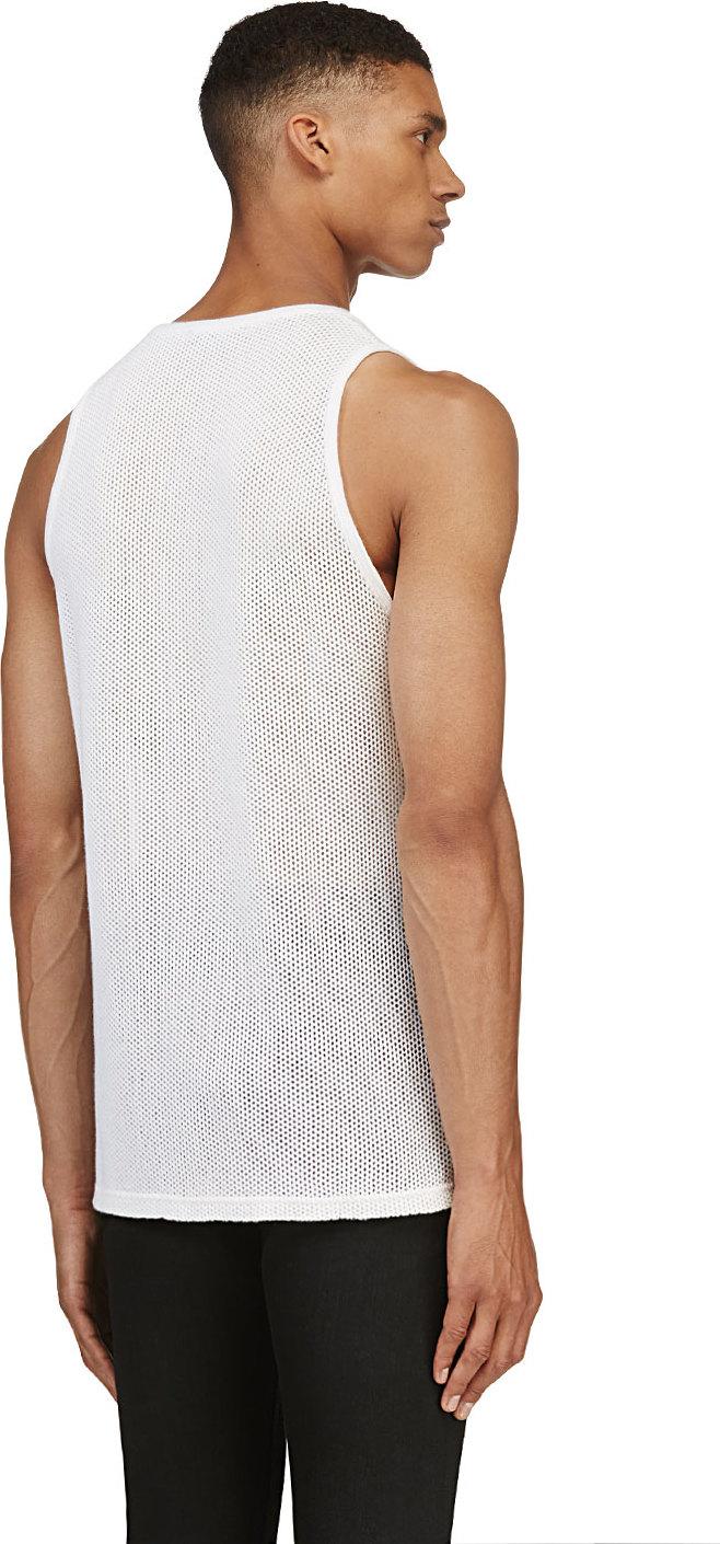 24e0cdab43fcb3 Lyst - Burberry Prorsum White Cashmere Mesh Tank Top in White for Men