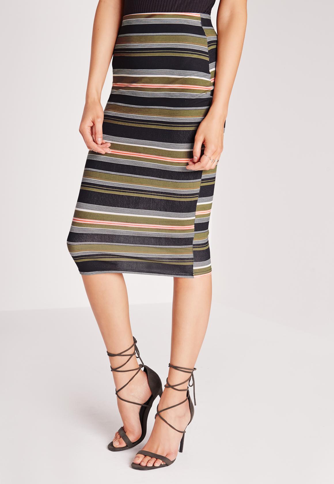 missguided stripe midi skirt khaki lyst