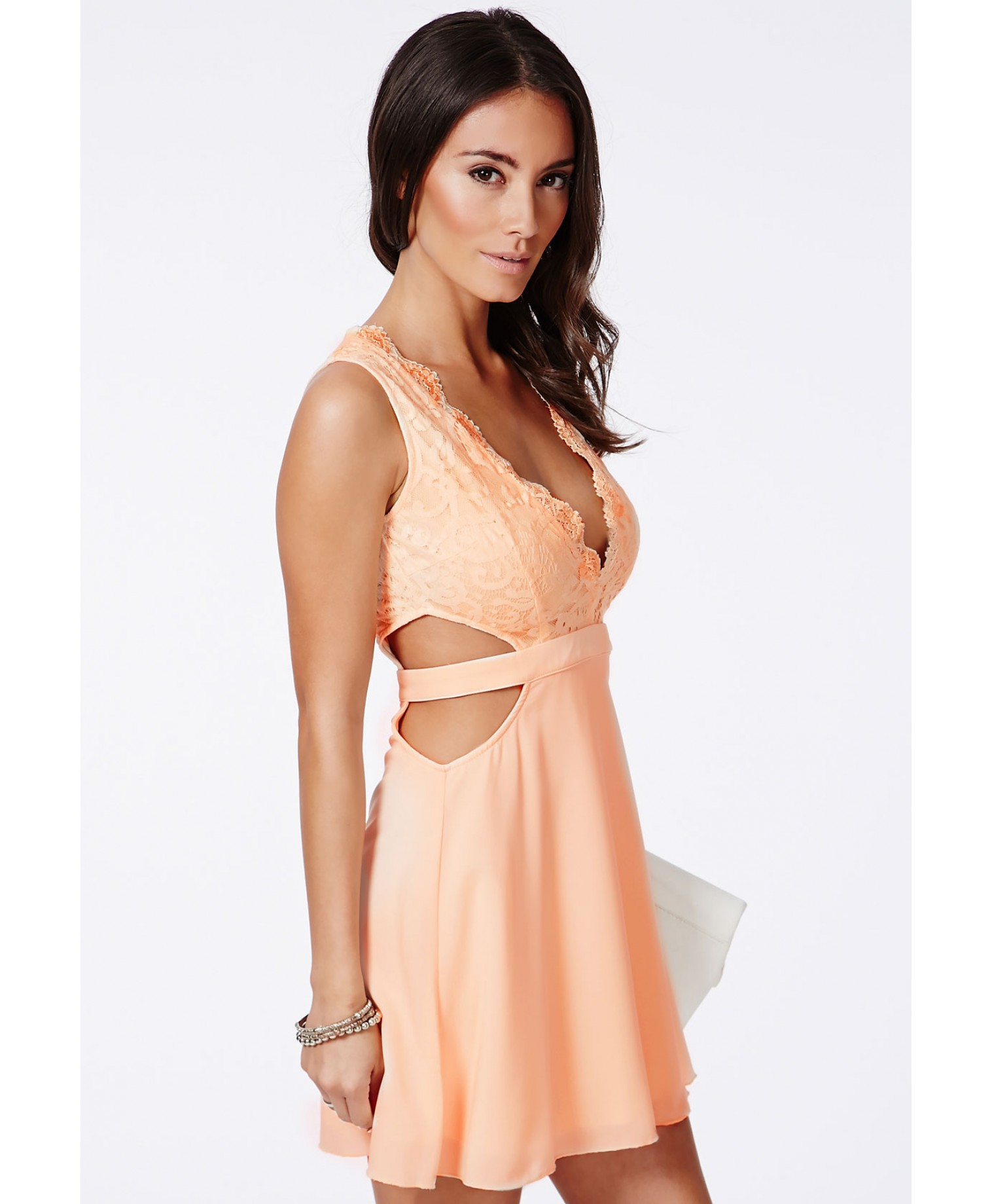 48e34491cc Missguided Roksy Nude Lace Plunge Cut Out Dress in Natural - Lyst