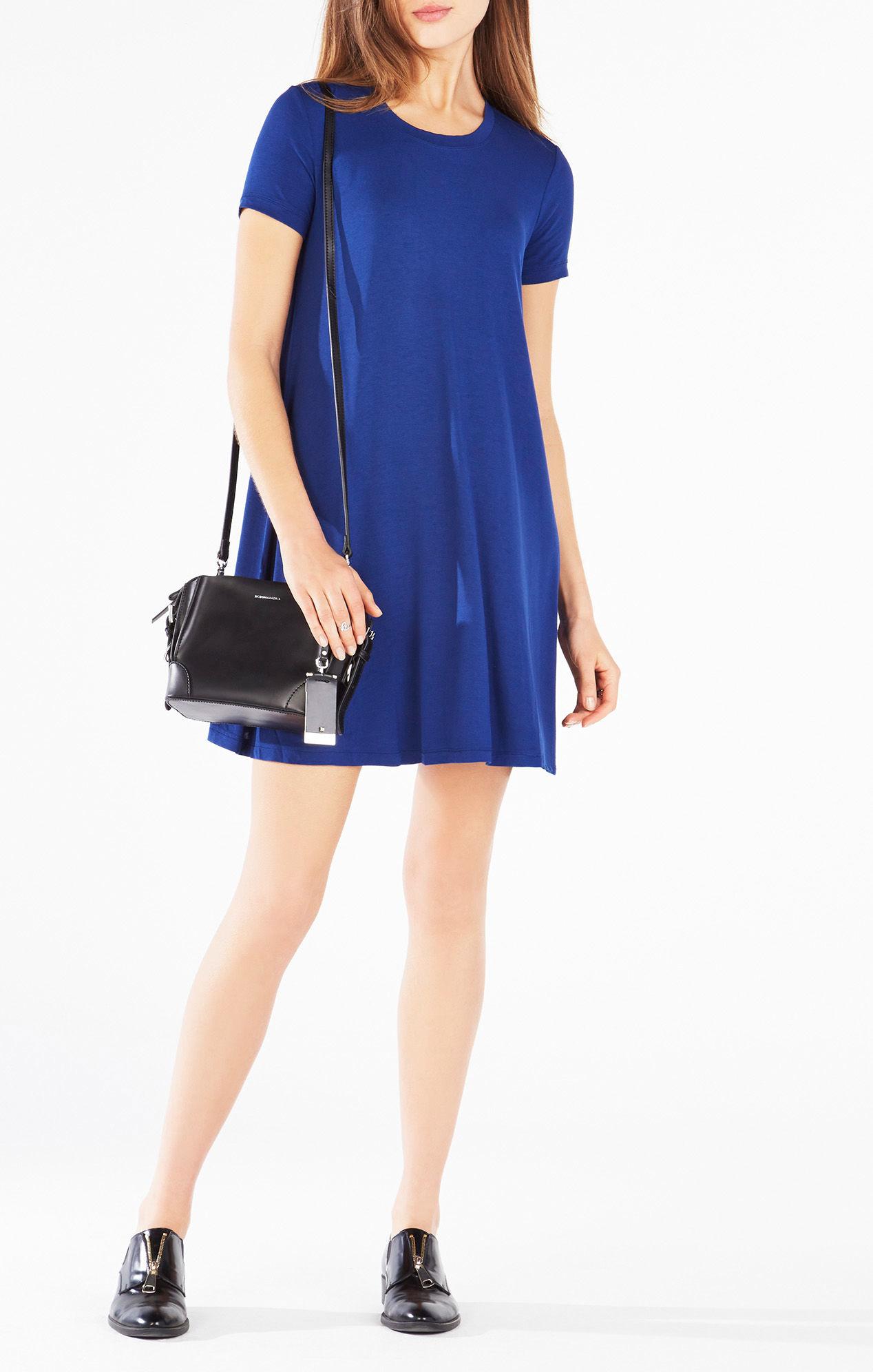 Lyst Bcbgmaxazria Anneta Short Sleeve Dress In Blue