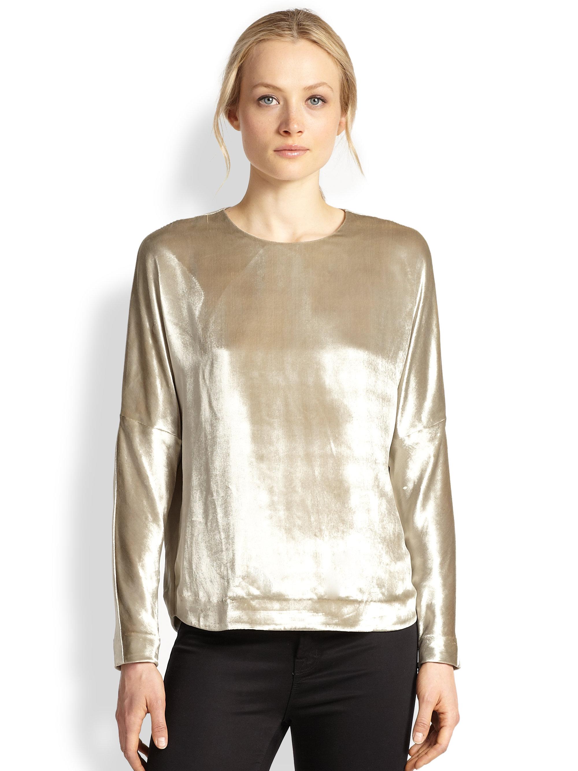 J brand romy metallic velvet top in silver lyst for Silver metallic shirt women s