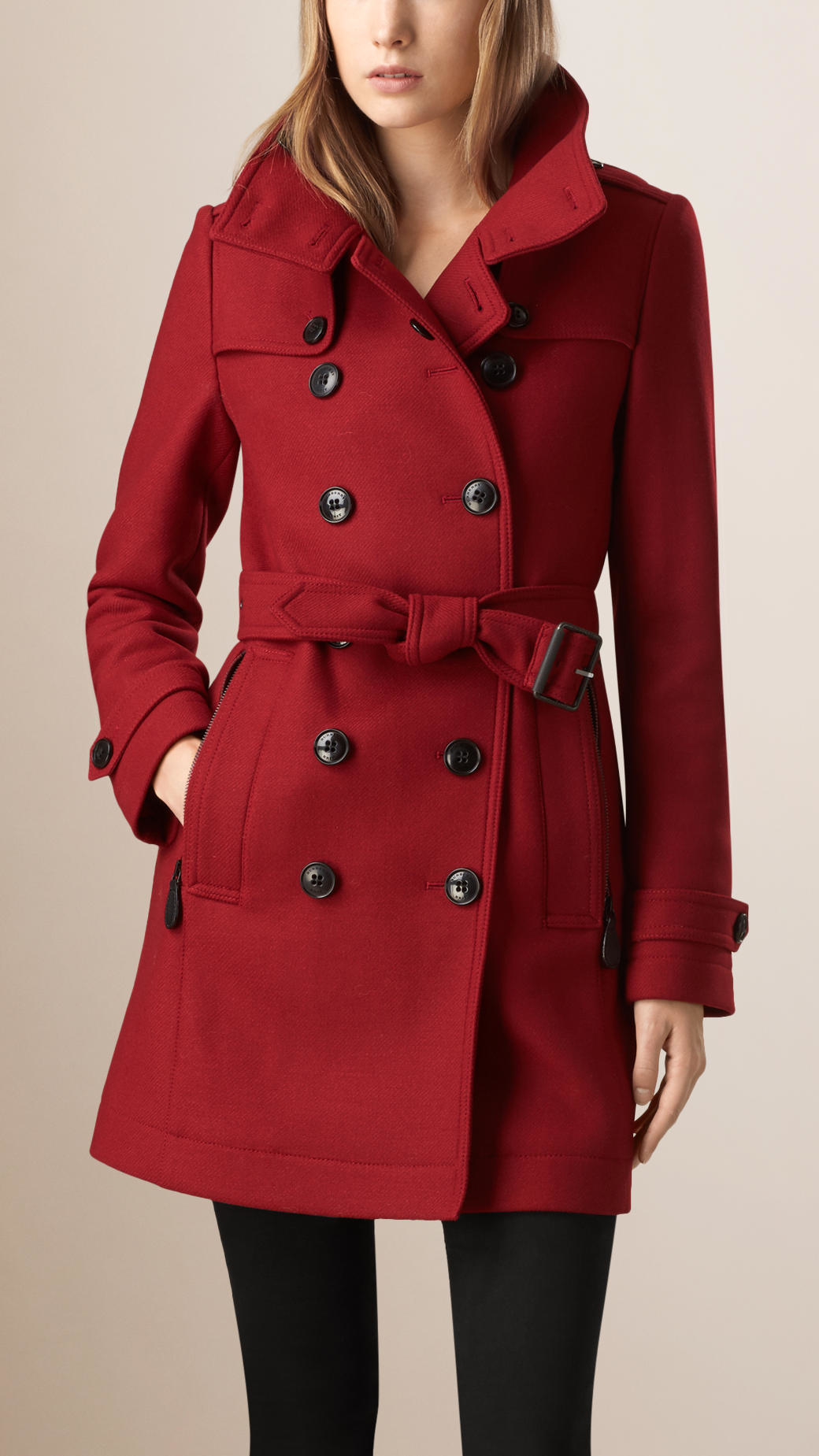 Burberry Funnel Neck Wool Cashmere Twill Trench Coat In
