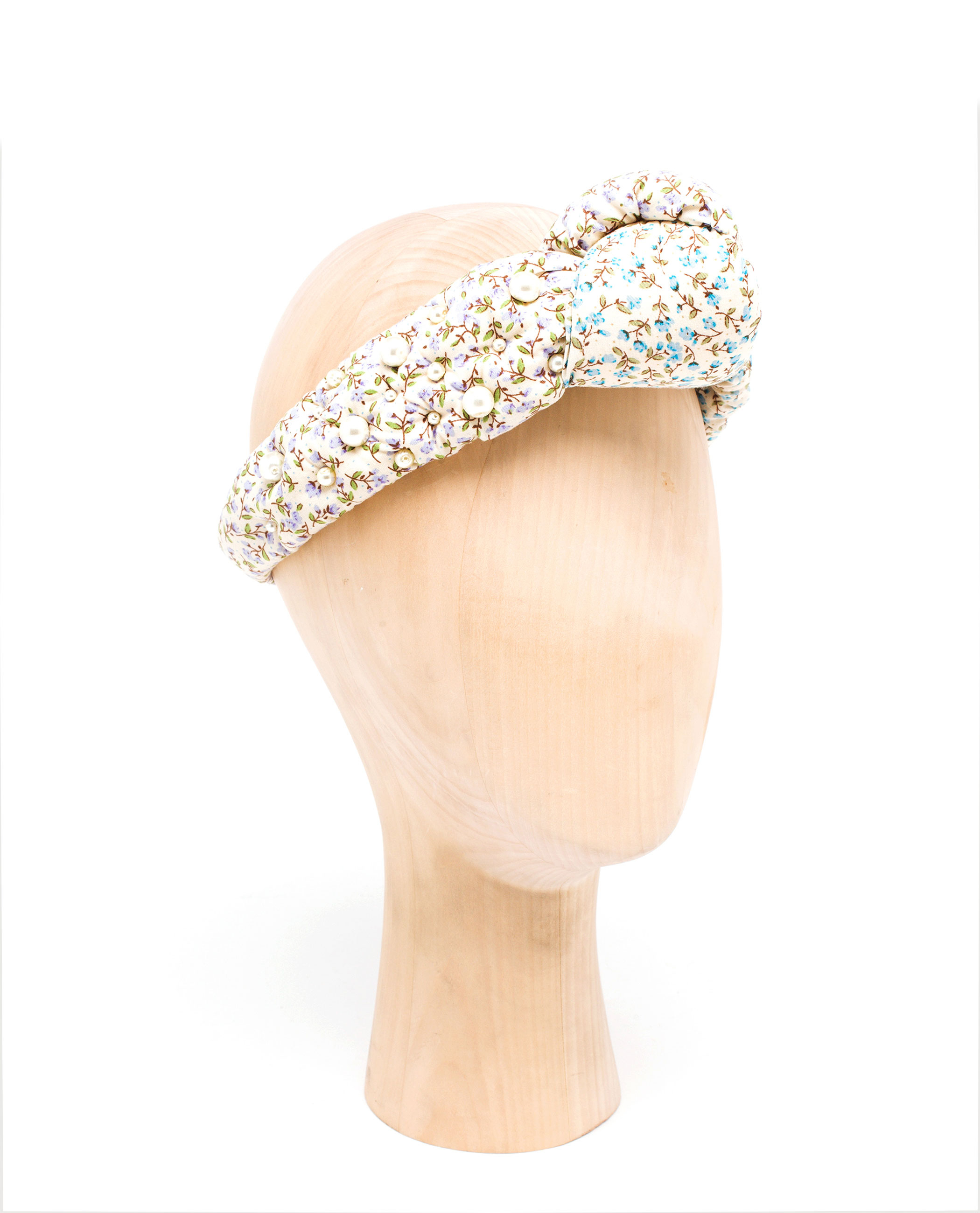 Natasha Zinko Knotted Floral Headband With Pearl Embellishment in ... 2a6d3126f0e