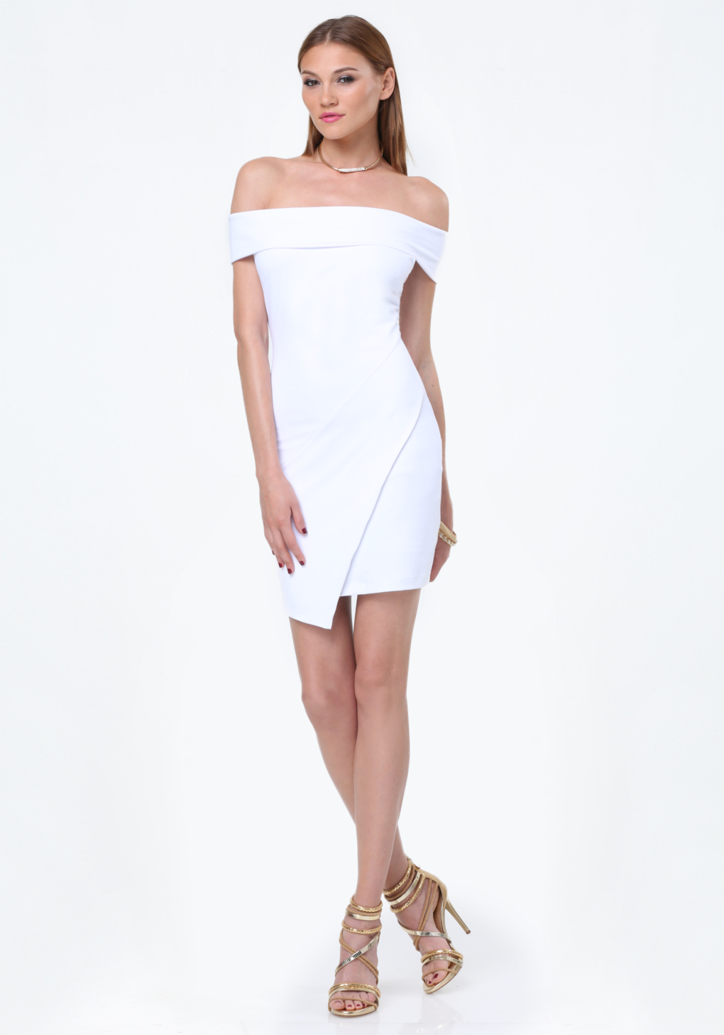 a2f791487594 Bebe Off Shoulder Dress in White - Lyst