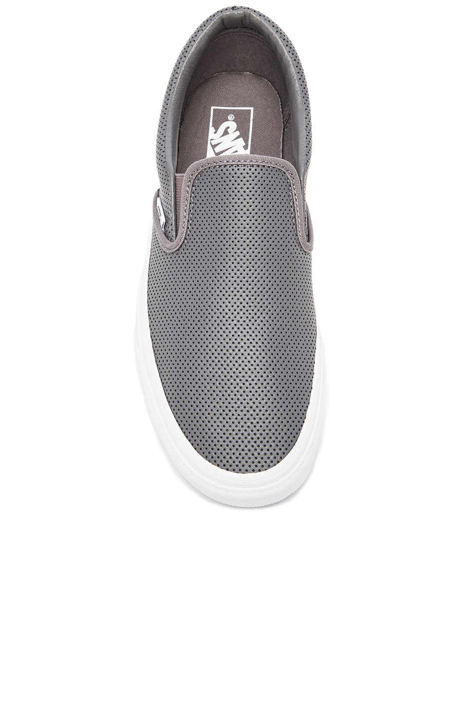 vans perforated leather slip on grey