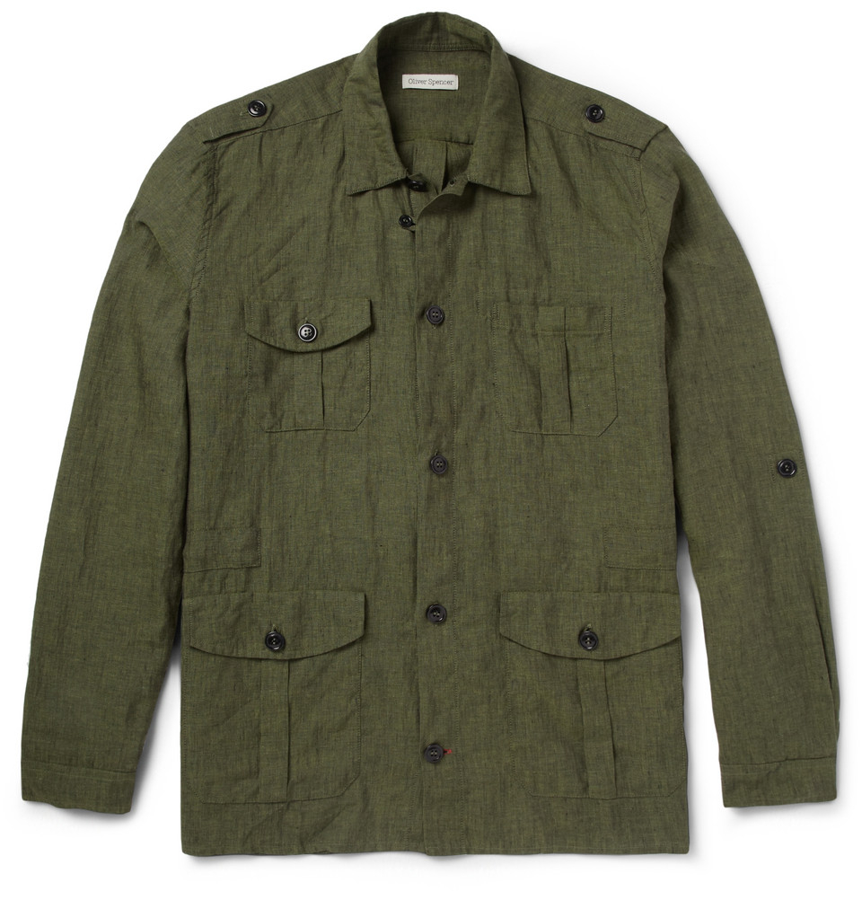 Lyst Oliver Spencer Linen Safari Jacket In Green For Men