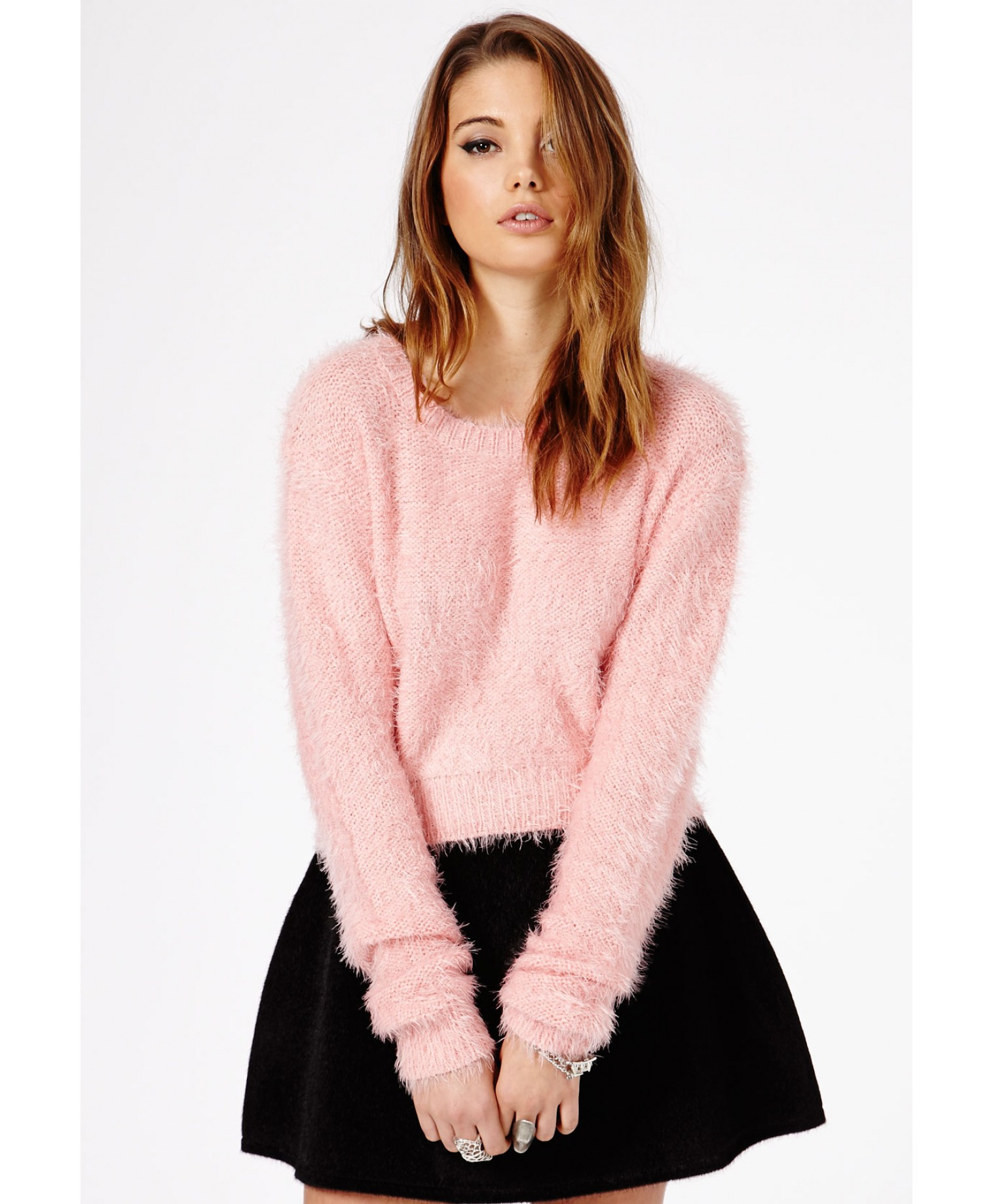 Missguided Flafica Oversized Eyelash Knit Cropped Jumper in Baby ...