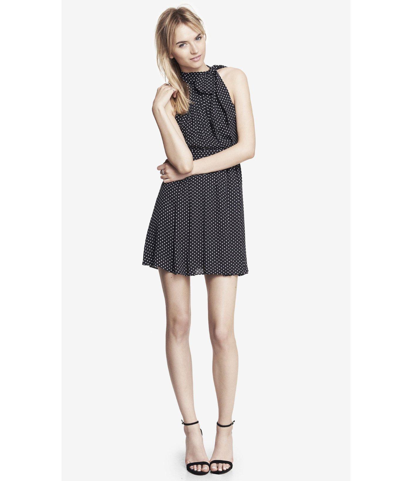 Lyst Express Tie Neck Halter Dress Polka Dot In Black