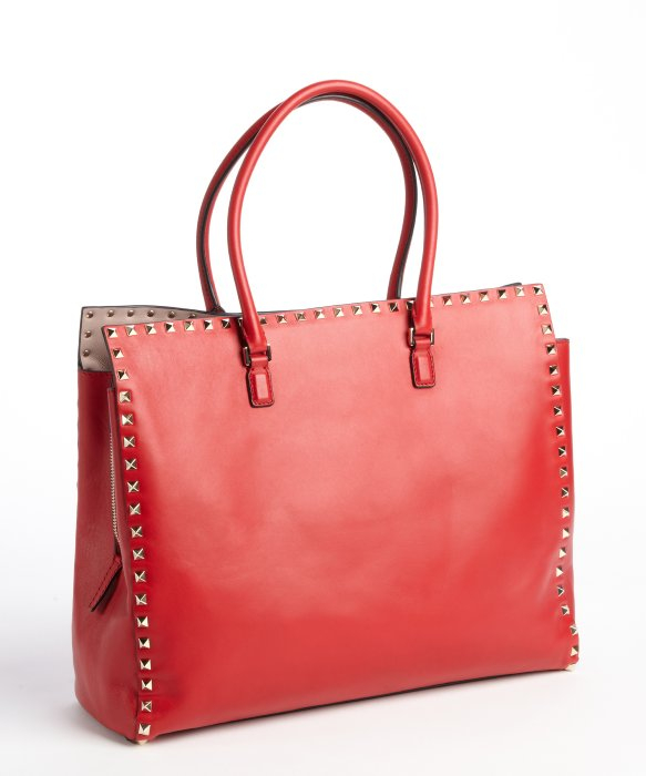 Valentino Red Studded Leather Tote Bag in Red | Lyst