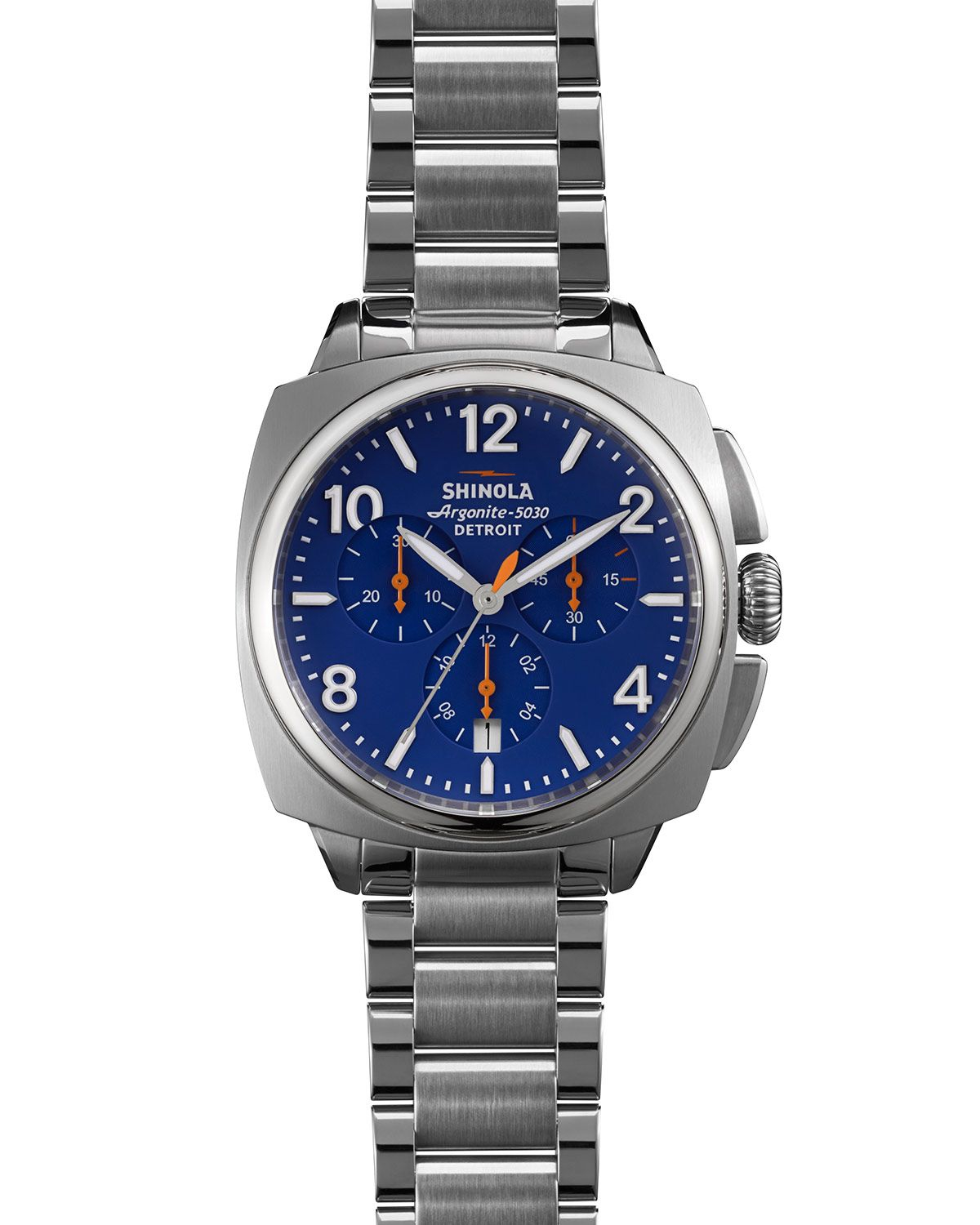 Lyst shinola the brakeman chronograph watch 40mm in blue for men for Shinola watches