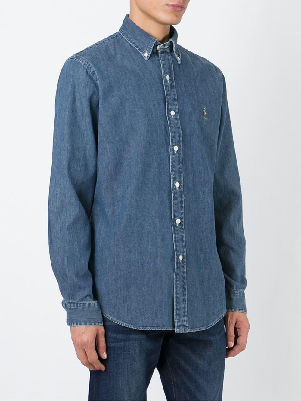polo ralph lauren classic denim shirt in blue for men lyst
