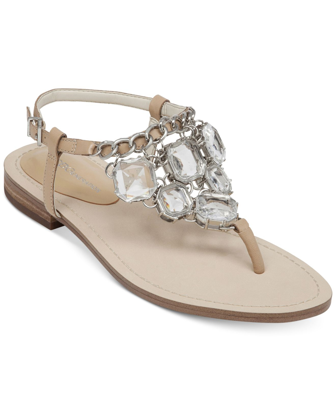 f316ee0235298c Lyst - BCBGeneration Baila Bling Flat Sandals in Natural