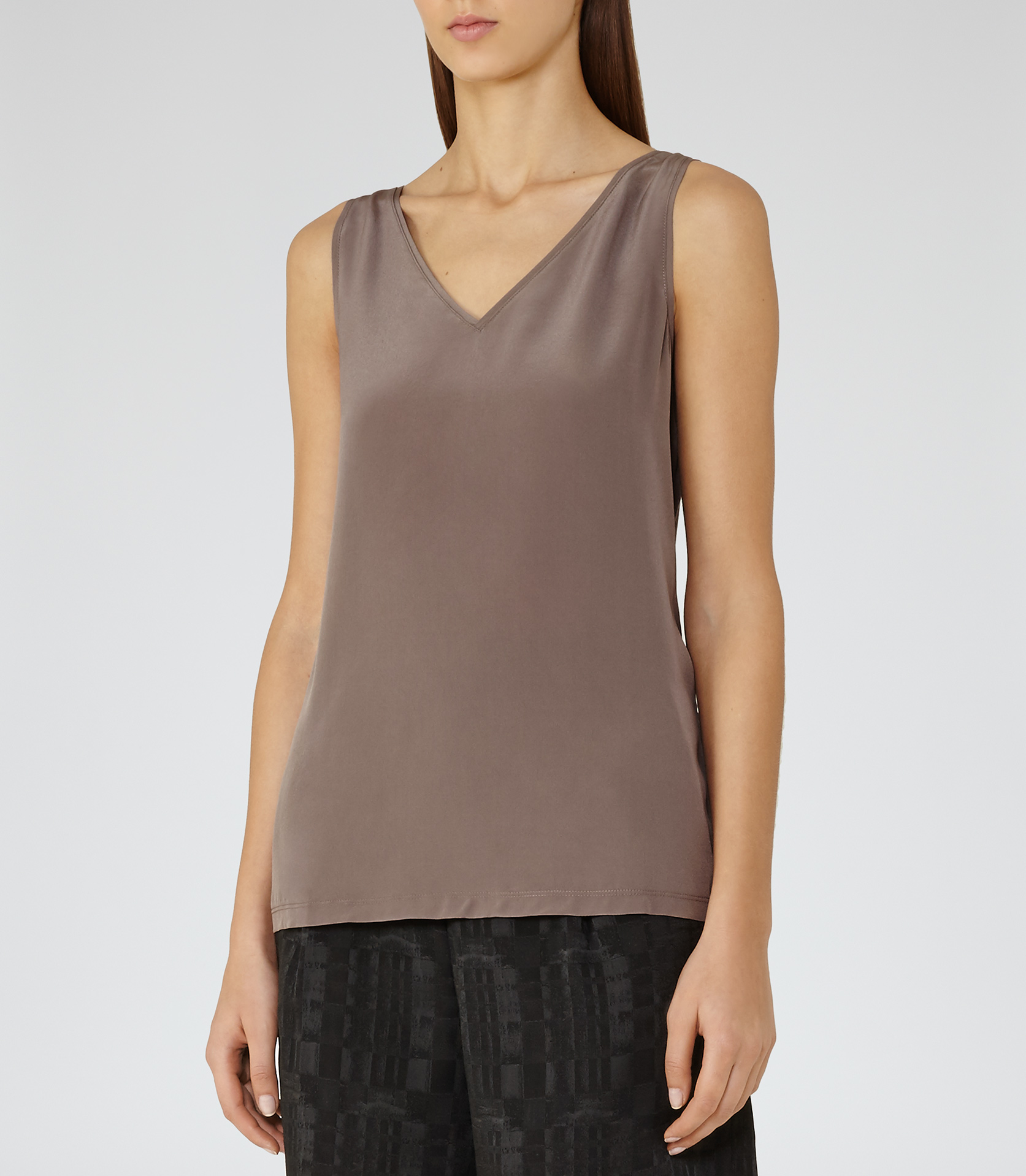 52c193a608eb4d Lyst - Reiss Mikaela Silk-front Tank Top in Gray