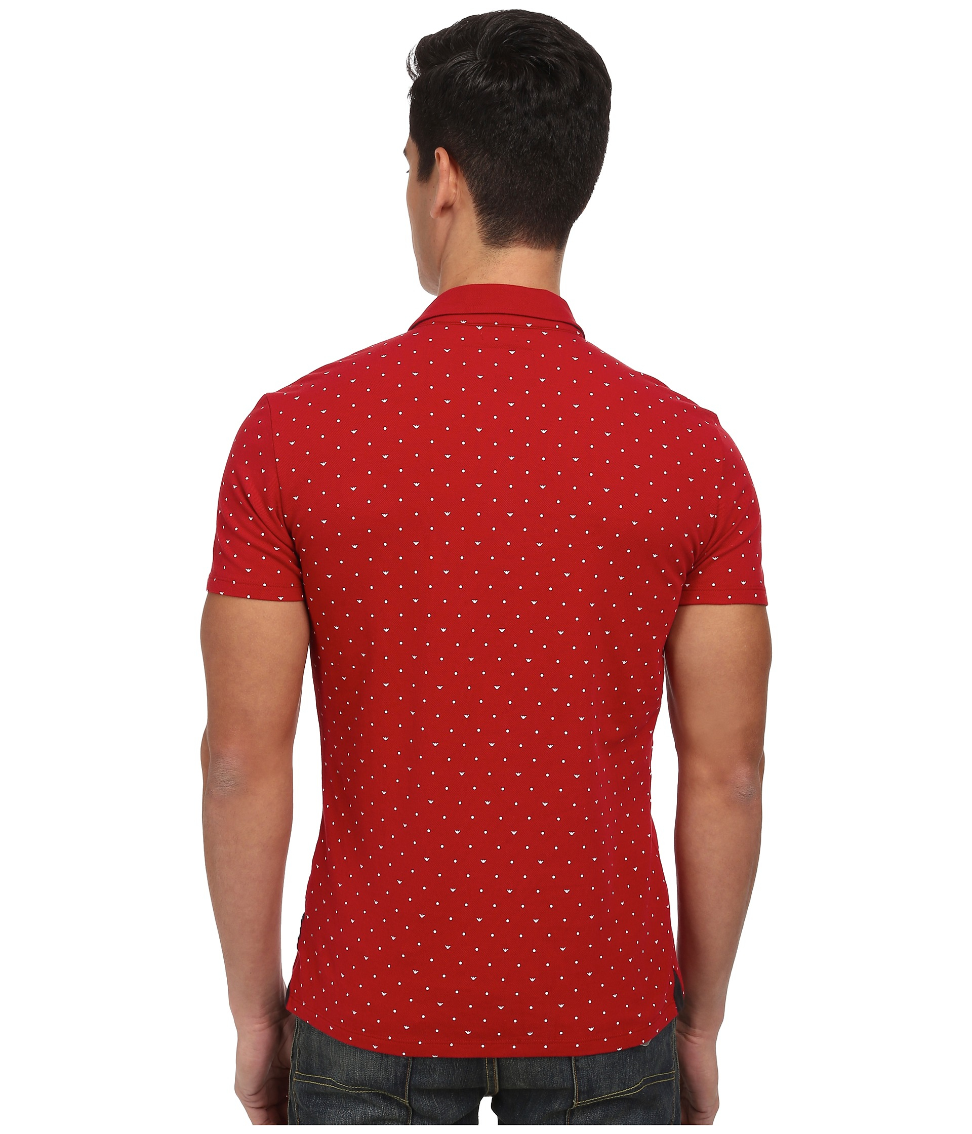 In Over All Red Printed Armani Lyst Polo Micro Jeans Eagle qaZvO8