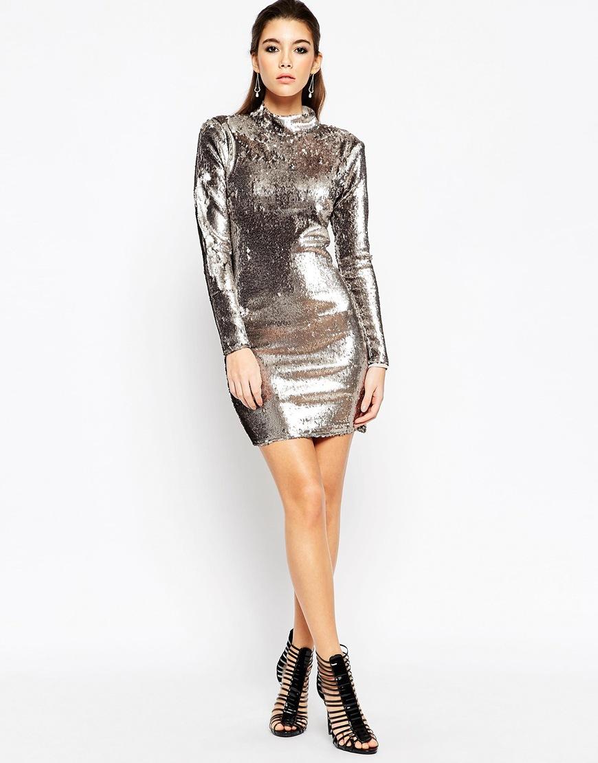Asos Night Embellished High Neck Sequin Mini Dress - Gun Metal in ...