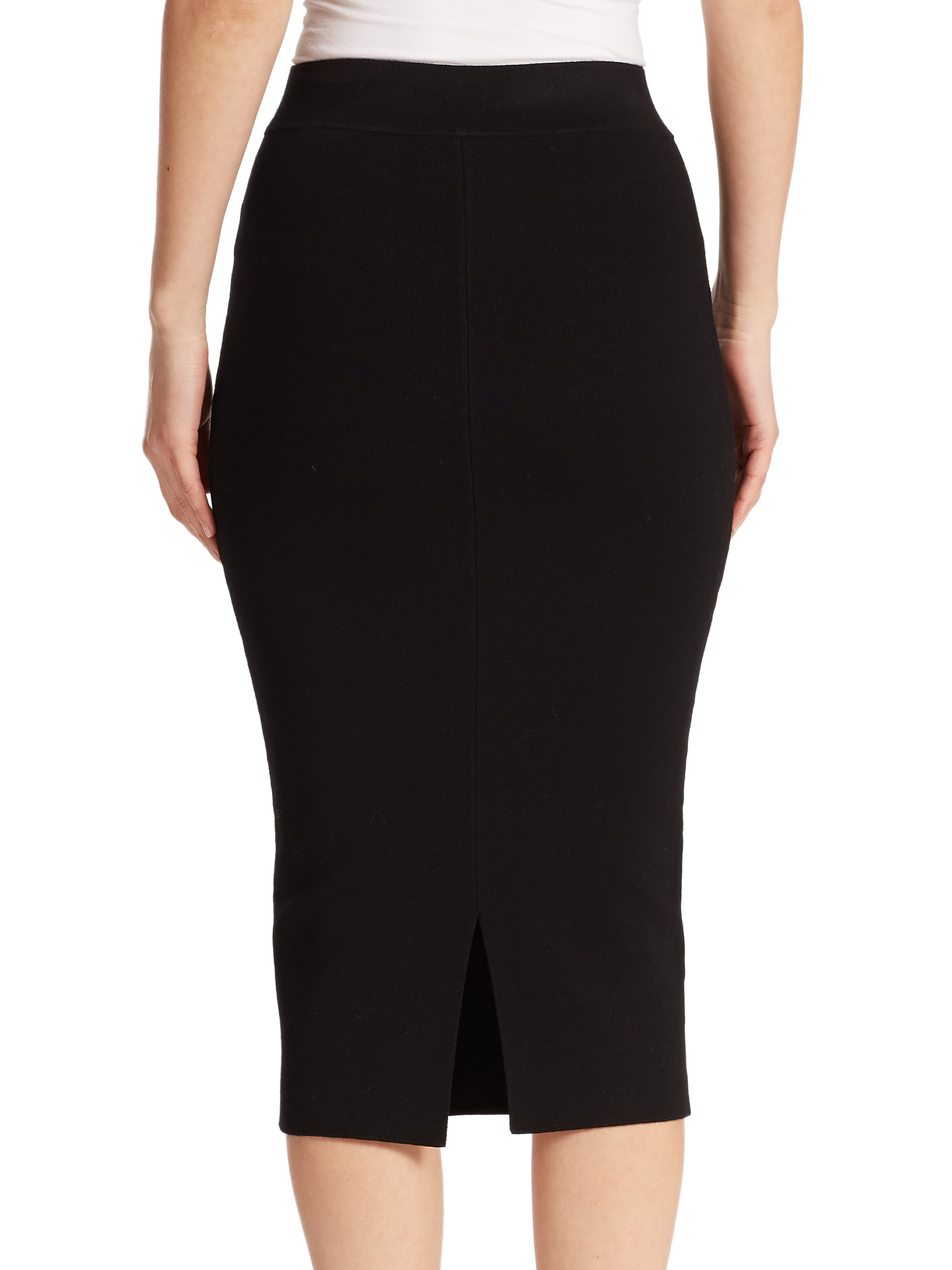 Milly Fitted Pencil Skirt in Black | Lyst