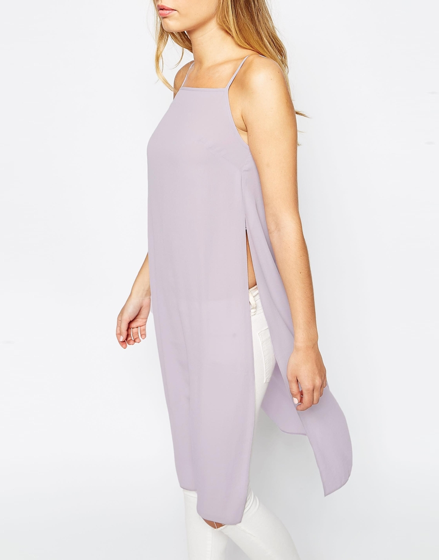 51e7549860 ASOS Longline High Neck Cami Top With Side Splits in Purple - Lyst
