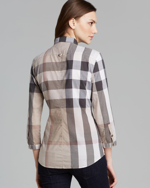 Burberry brit check print shirt lyst for Burberry shirt size chart