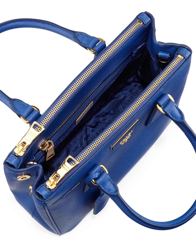 f2c696592346 Prada Saffiano Double-Zip Mini Crossbody in Blue - Lyst