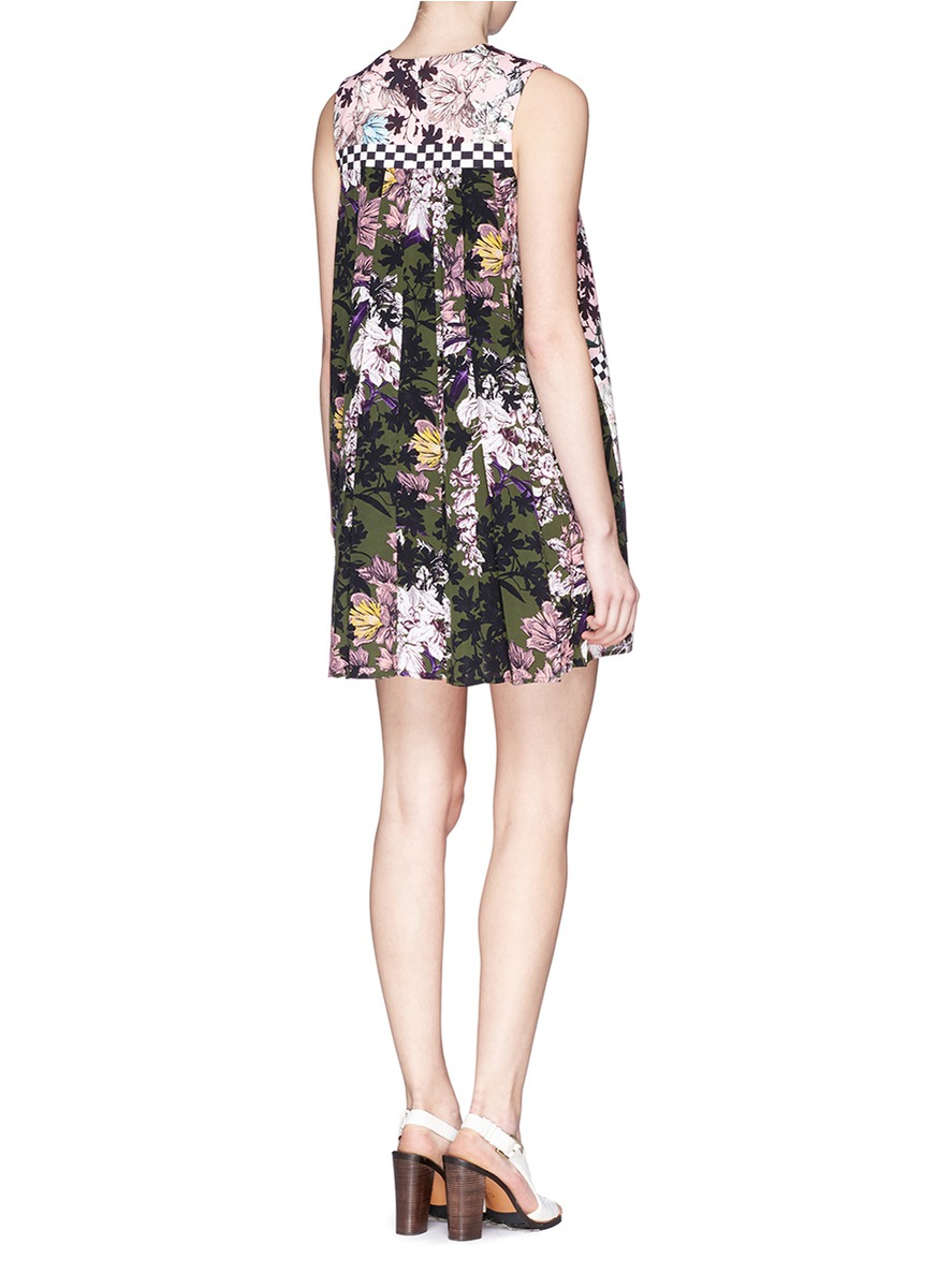 sleeveless dress with multicolor pleats Msgm 87OS2bqwn