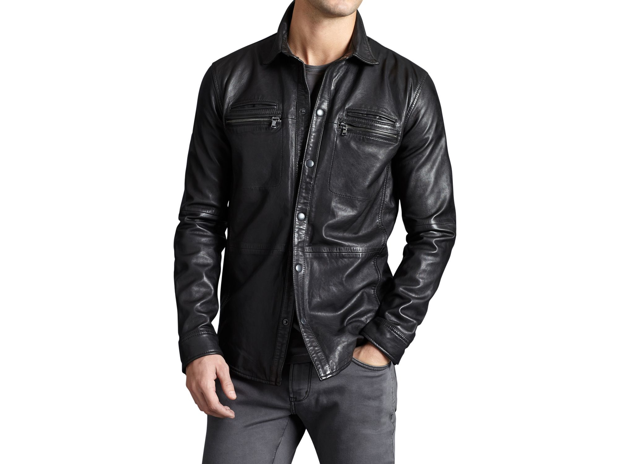 Lyst john varvatos leather shirt jacket in black for men for Leather jacket and shirt