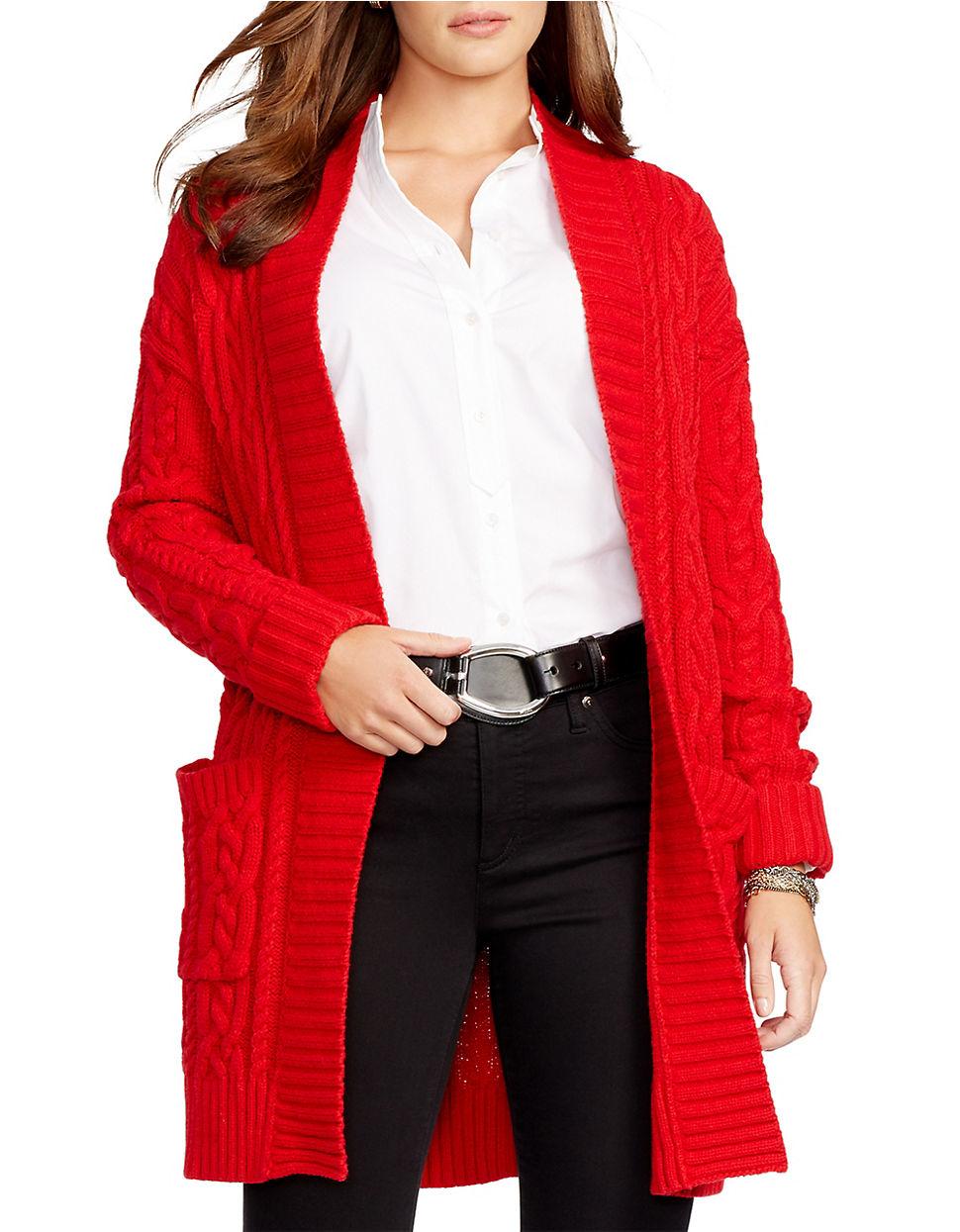 Lauren by ralph lauren Plus Cable-knit Open-front Cardigan in Red ...