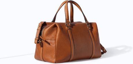 Zara Soft Leather Bowling Bag In Brown Leather Lyst