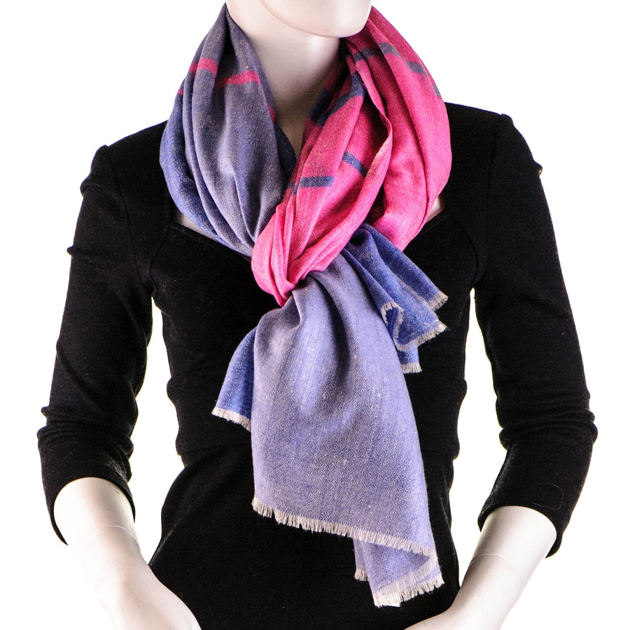Black.co.uk Pink And Blue Cashmere Shawl In Pink