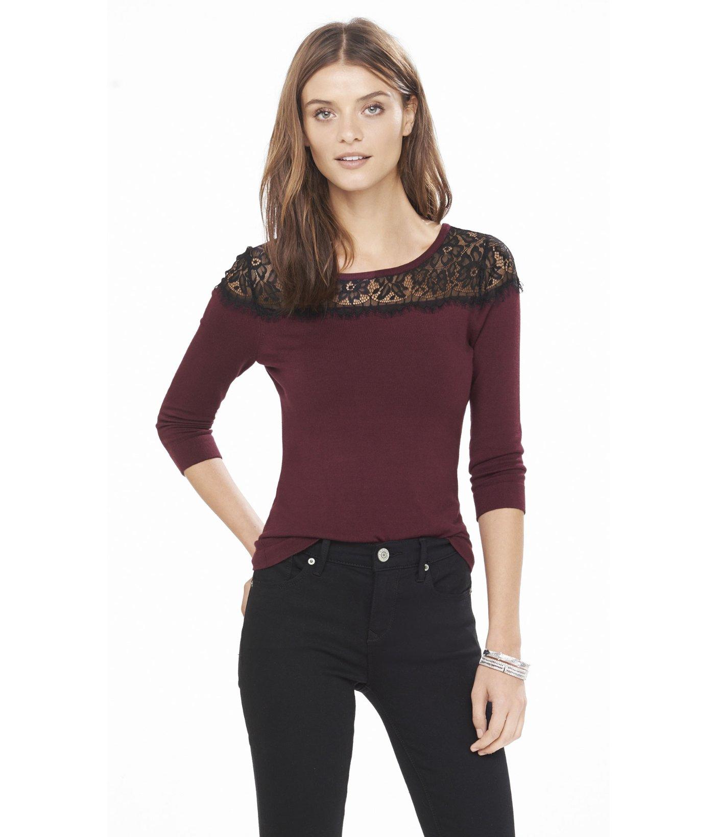 Express Lace Yoke Bateau Neck Sweater in Purple | Lyst