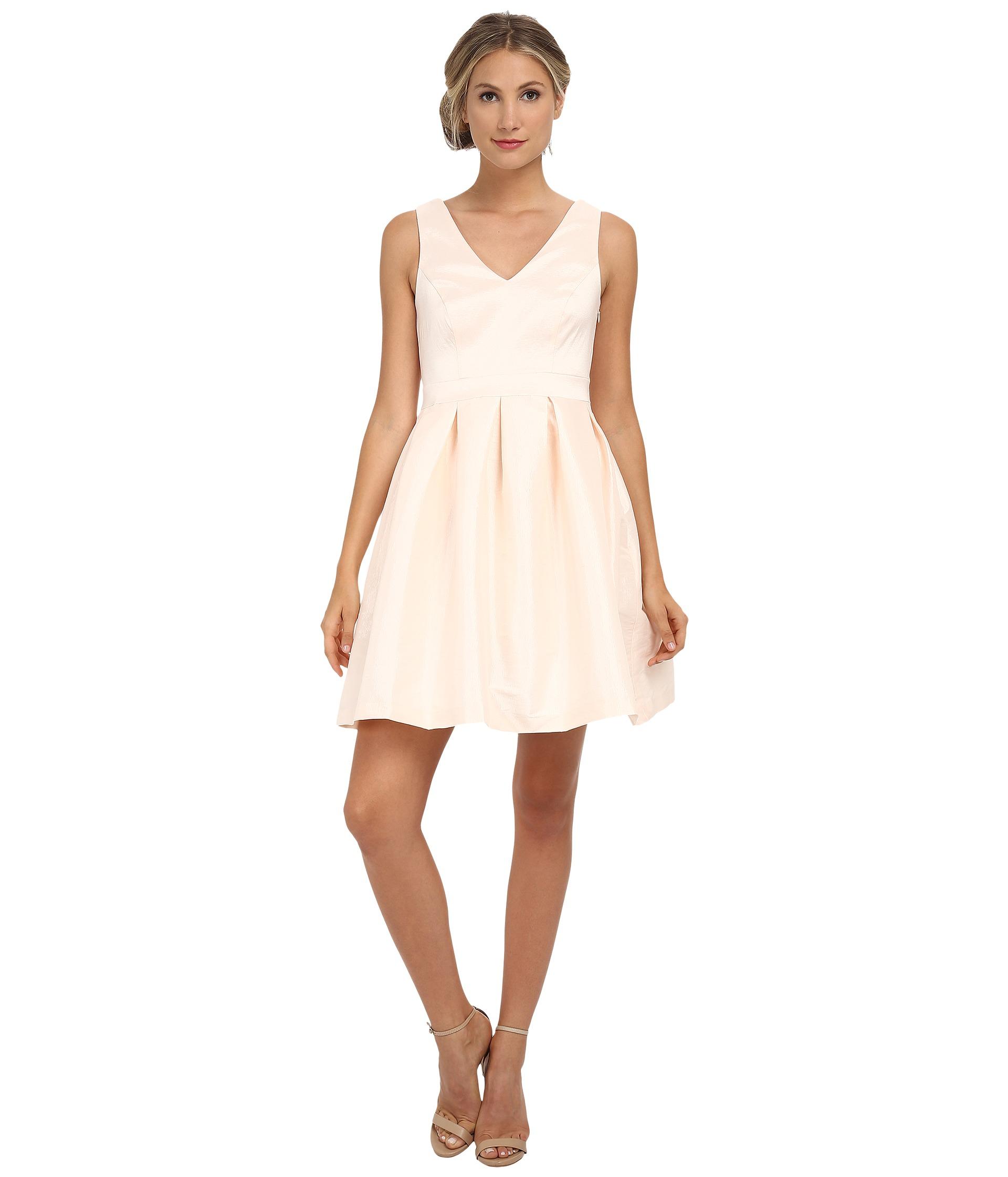 Jessica simpson taffeta fit flare dress in pink lyst gallery ombrellifo Gallery