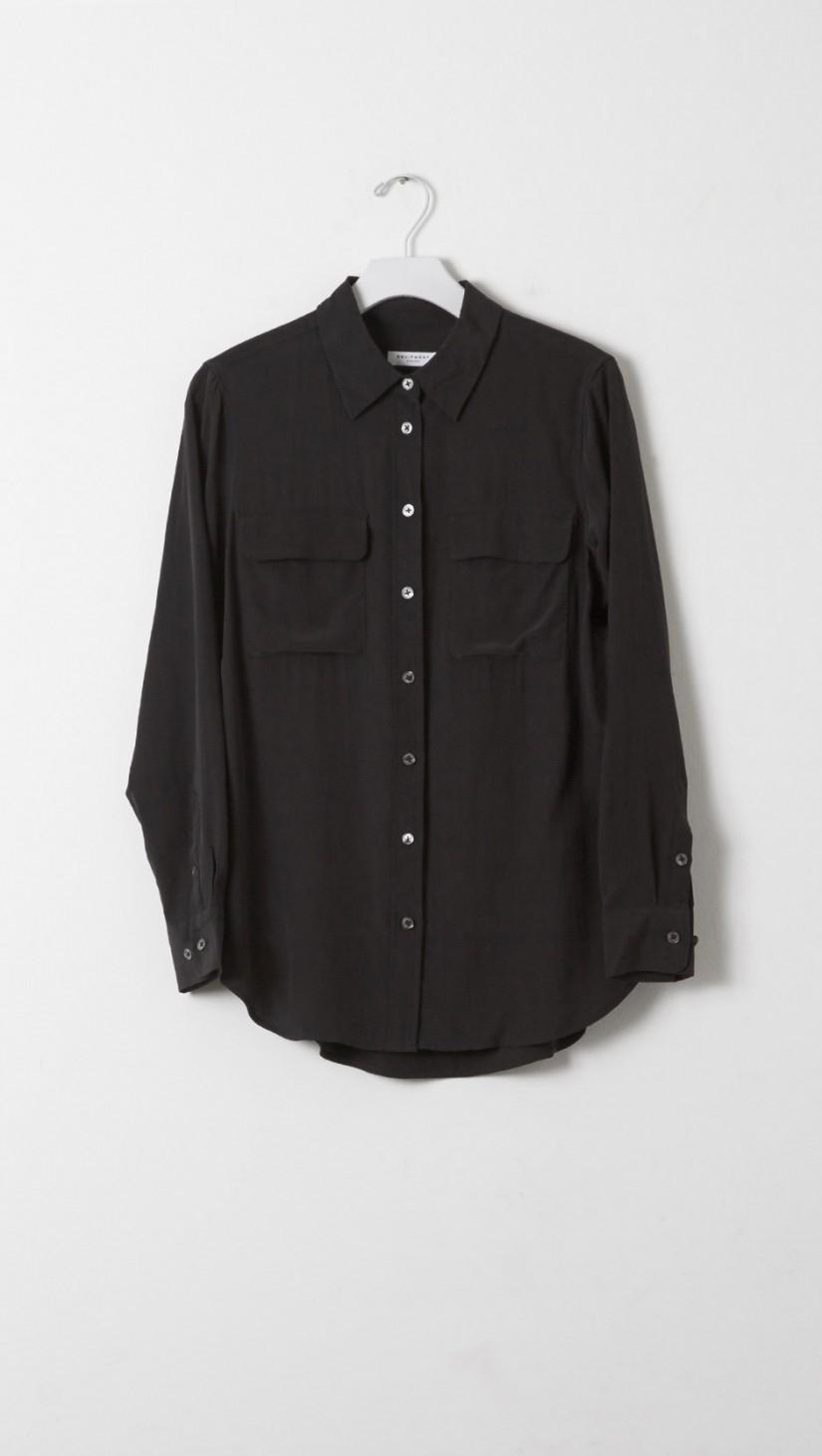 Equipment slim signature silk blouse in black lyst for Equipment black silk shirt