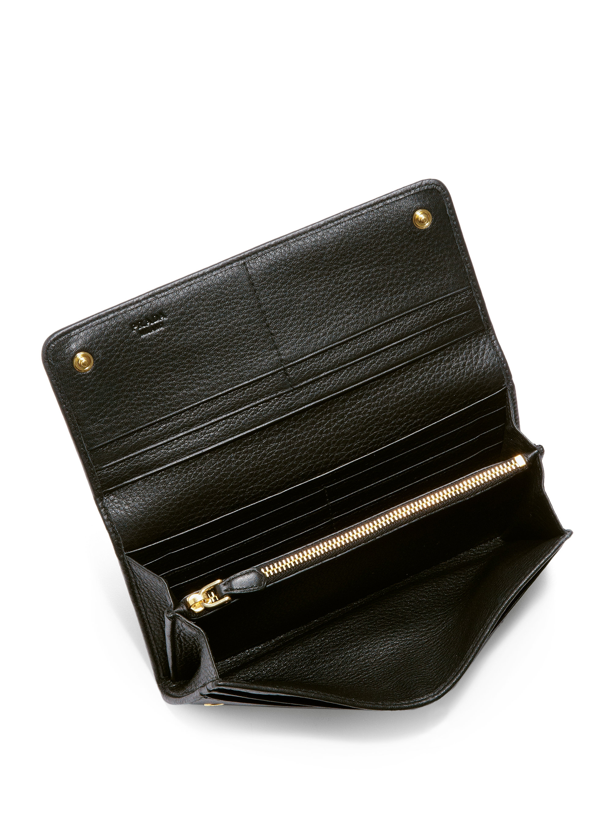 652ea7656ed1 official store lyst prada vitello phoenix flap continental wallet in black  0a843 bd268