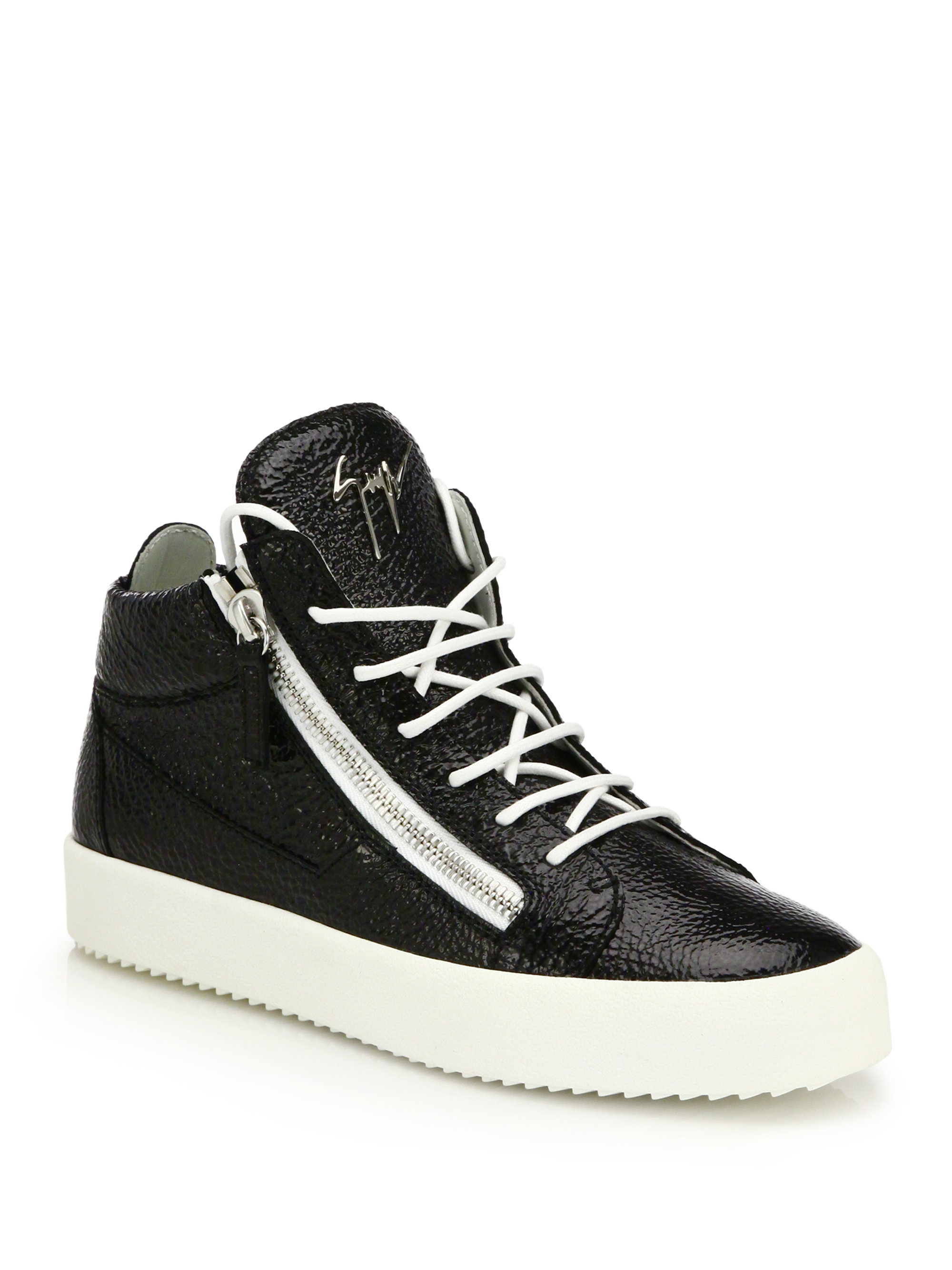 70f11041c11f5 Giuseppe Zanotti Crinkled Leather Double-zip Mid-top Sneakers in ...