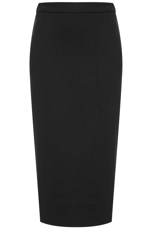 topshop zip back pencil skirt in black lyst