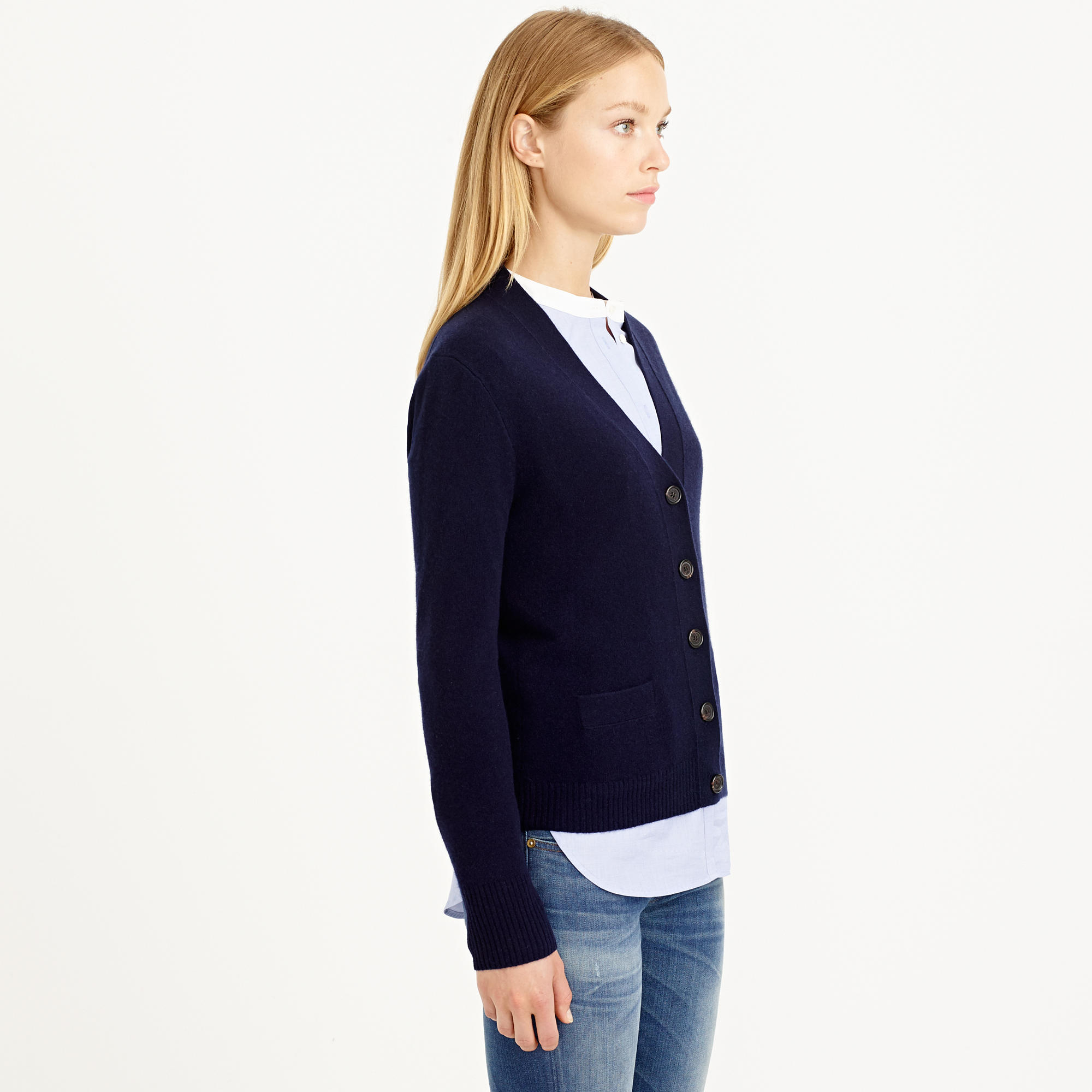 J.crew Collection Cashmere V-neck Cardigan Sweater in Blue | Lyst