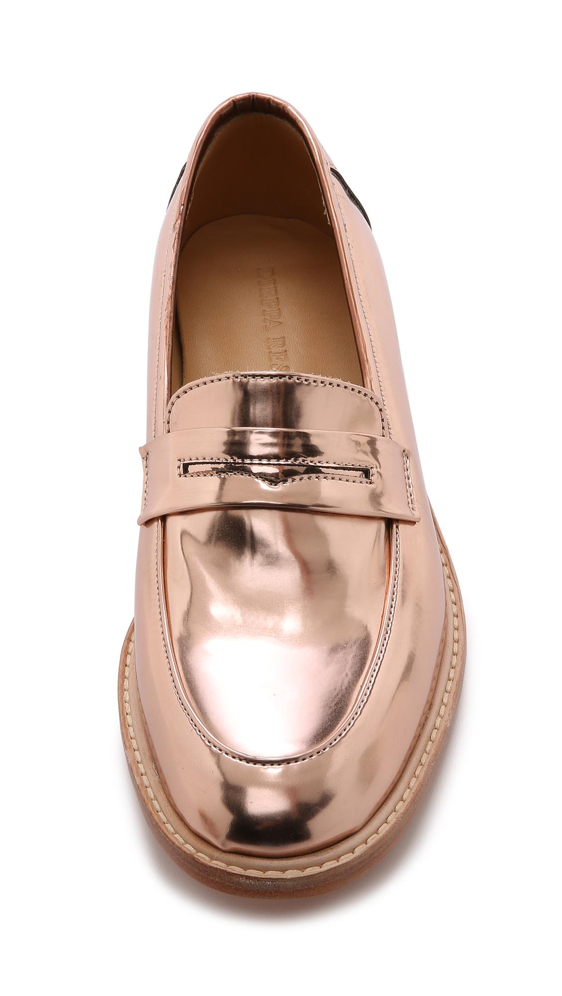 5ba67ee2f70 Lyst dieppa restrepo metallic penny loafers rose gold in metallic jpg  1128x2000 Rose gold loafers