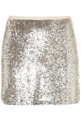 Topshop Silver Sequin Mini Skirt in Metallic | Lyst