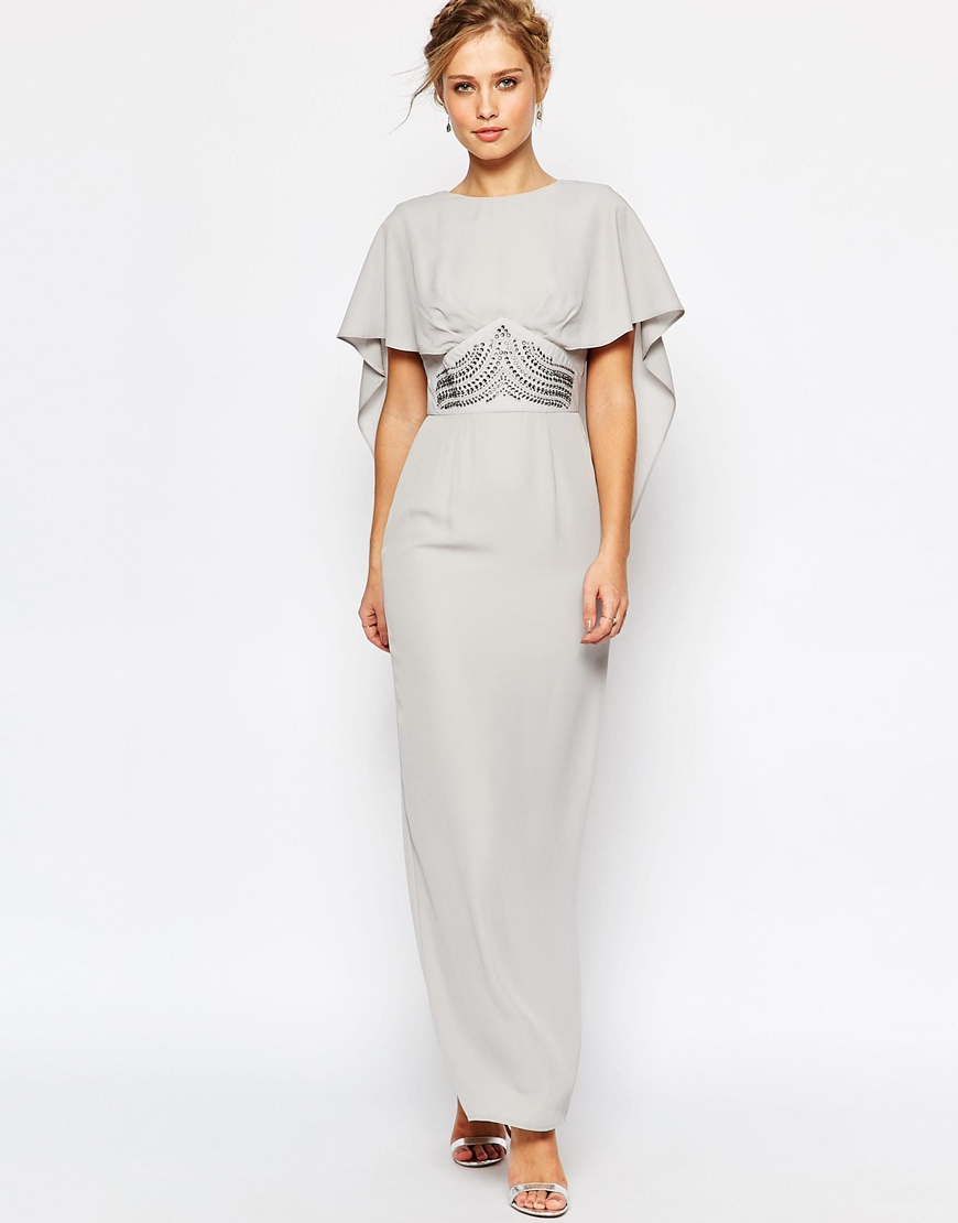 Elise Ryan Maxi Cape Dress With Embellished Waist In Gray