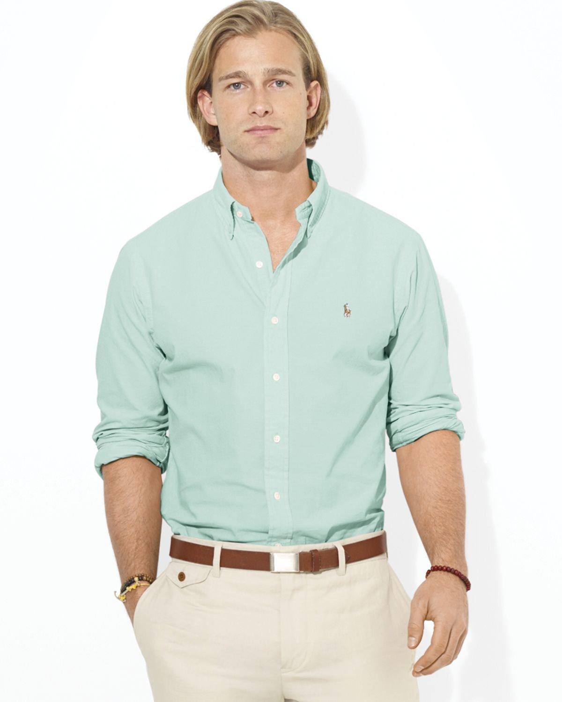 Ralph Lauren Polo Customfit Chambray Sport Shirt In Green