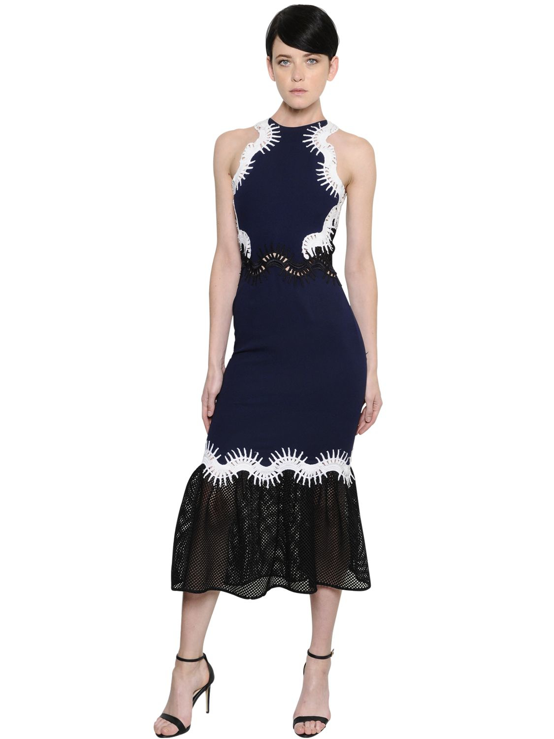 Jonathan Simkhai Embroidered Crepe Amp Ruffled Mesh Dress In