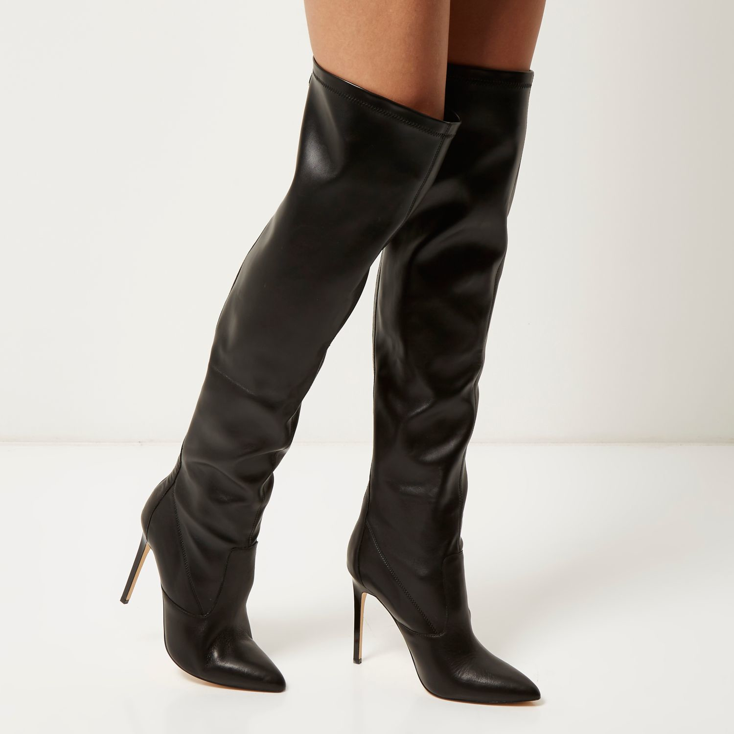 river island black the knee heeled boots in black lyst
