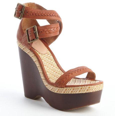 Joie Cognac Conchita Wooden Wedge Sandals In Brown Cognac
