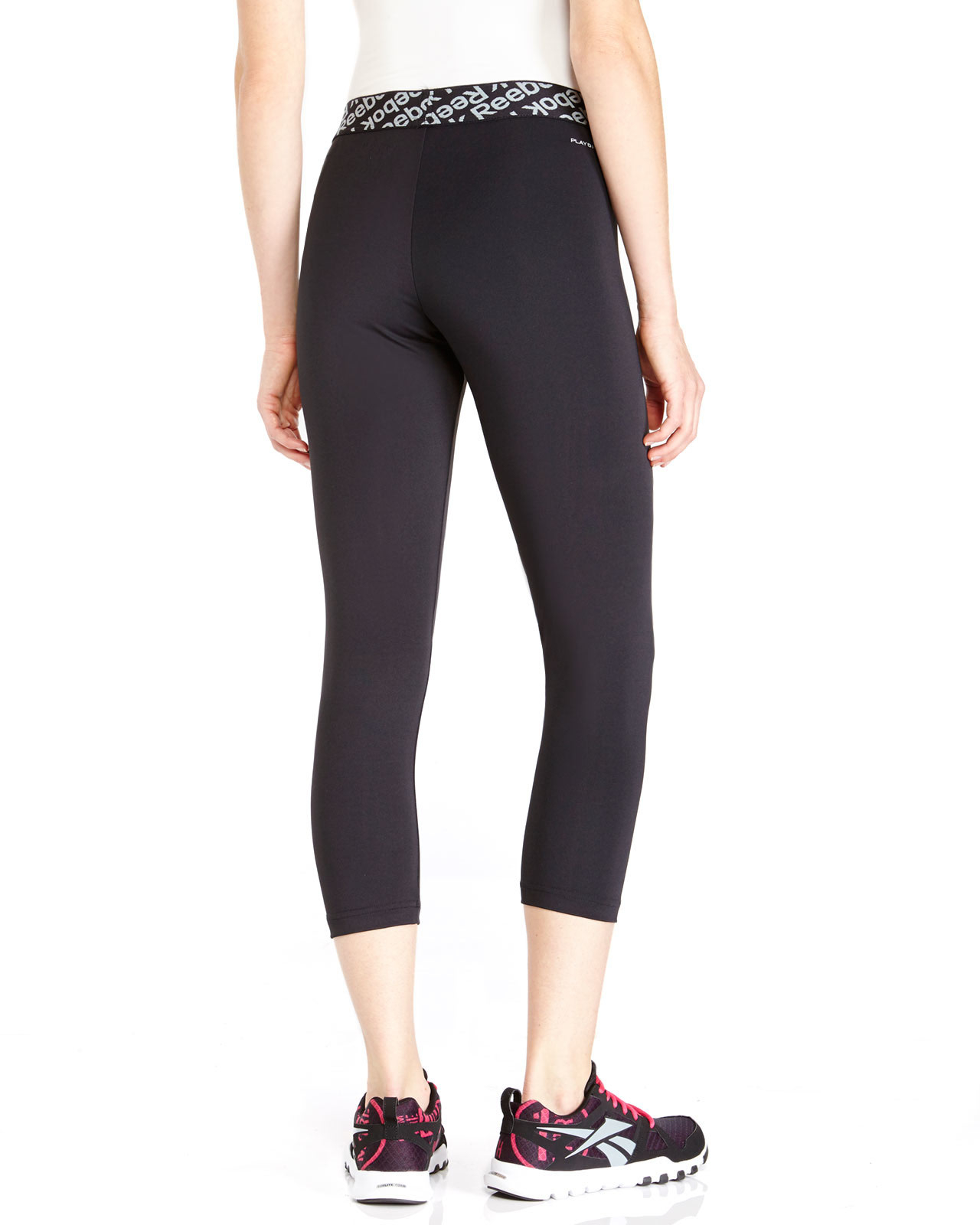 Reebok Black Logo Band Athletic Capri Pants in Black | Lyst