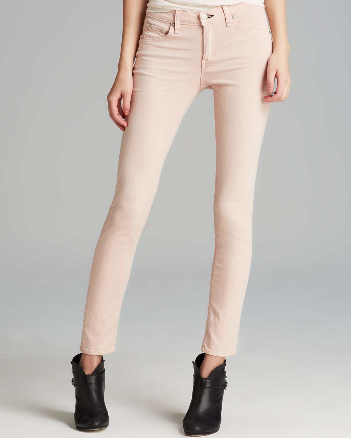 Rag & bone Jeans The Skinny in Distressed Blush in Pink | Lyst
