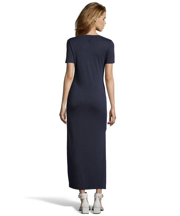 Theory Light Navy Pima Cotton Knit T-shirt Maxi Dress in Blue | Lyst