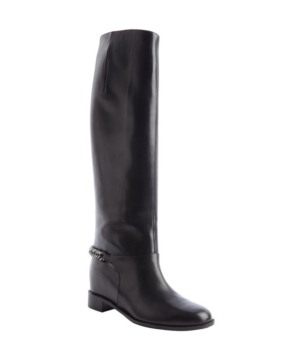 christian louboutin Cate knee-high boots Black leather round toes ...