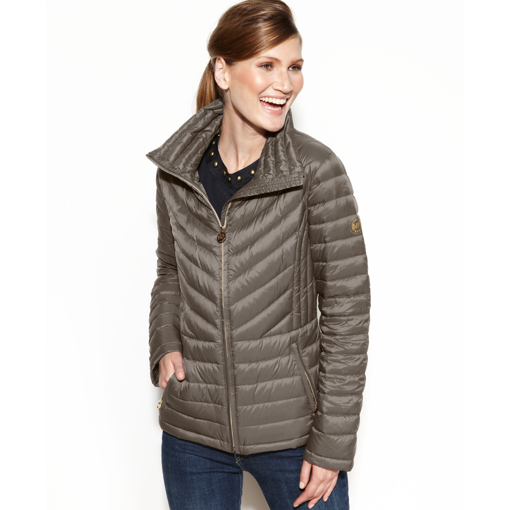 Michael Kors Packable Quilted Puffer Coat In Brown Taupe