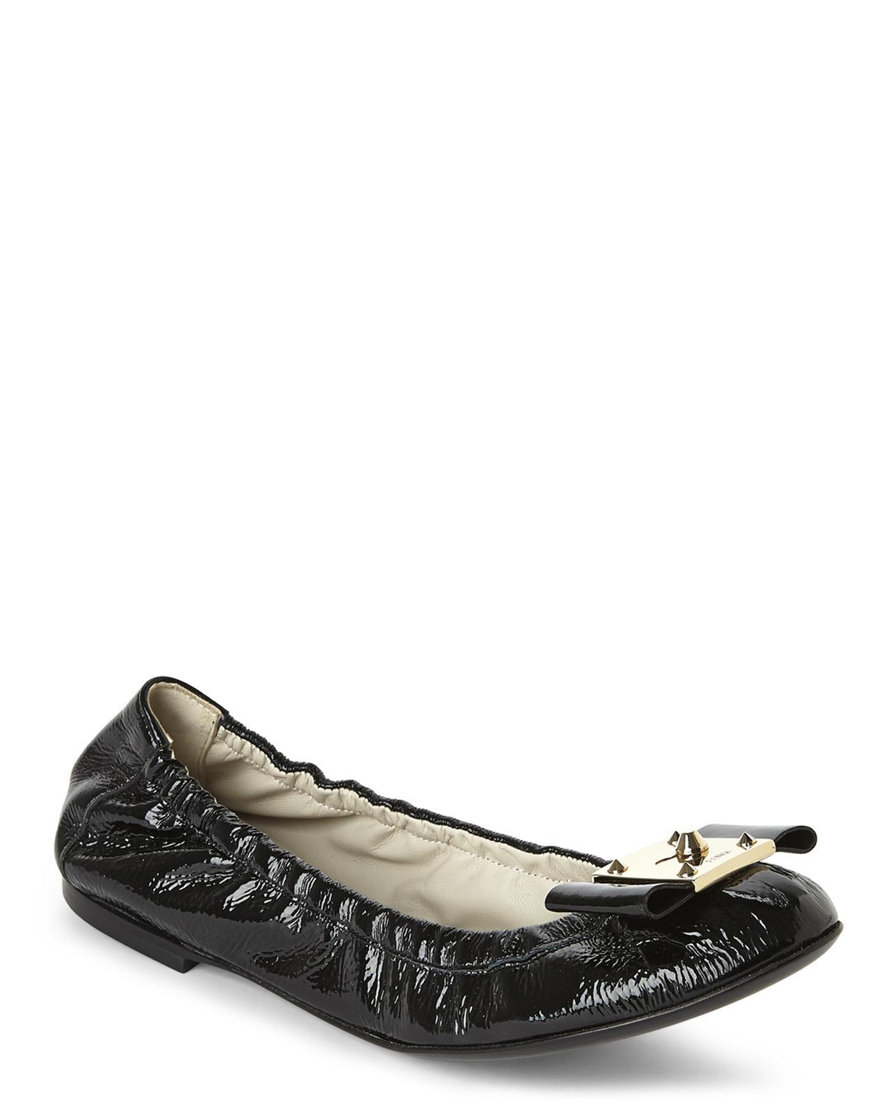 a2baf6e3ea3d0 Fendi Black Bow-Accented Ballerina Flats in Black - Lyst