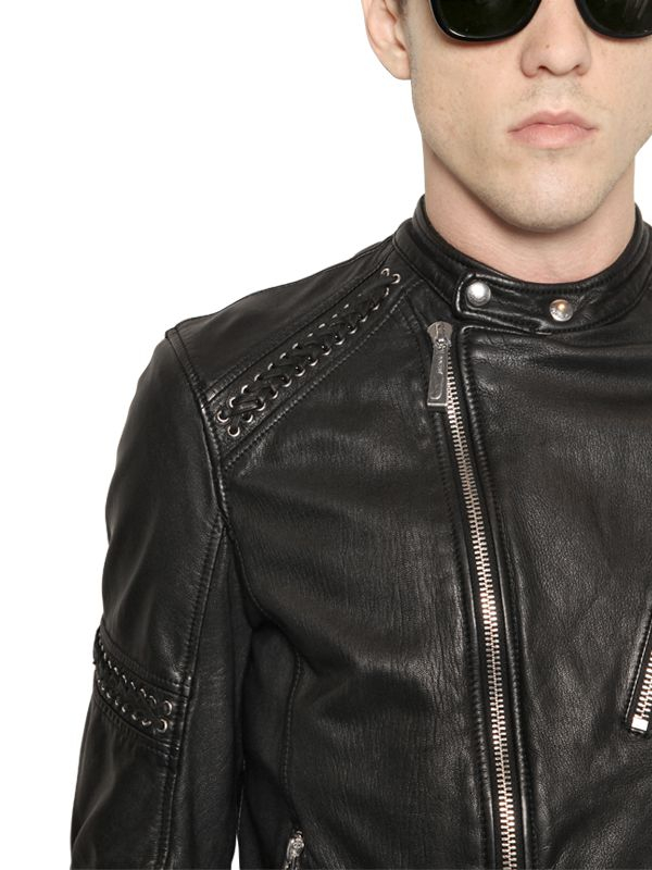 Lyst - Just Cavalli Leather Jacket With Lace-Up Details in Black for Men 60714412d